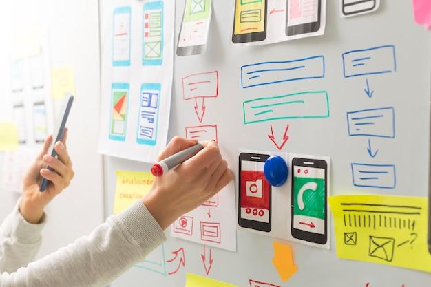 Projektant Stron Internetowych Opracowuje Interfejs Użytkownika Do Aplikacji Na Telefony Komórkowe. Premium Zdjęcia