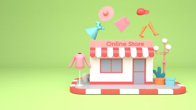 Projektowanie Ilustracji 3d Do Marketingu Online I Zakupów Z Miejsca Na Kopię Premium Zdjęcia