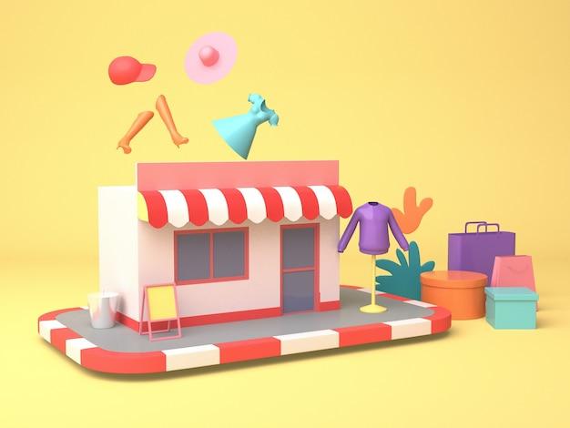 Projektowanie Ilustracji 3d Do Marketingu Online I Zakupów Premium Zdjęcia