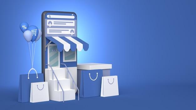 Projektowanie Ilustracji 3d Smartphone Do Marketingu Online I Zakupów Z Miejsca Na Kopię Premium Zdjęcia