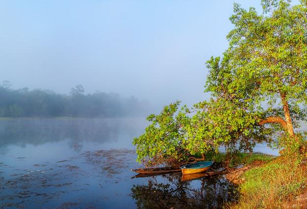 Przegląda Wodnego Rzecznego Drzewa W Mgle, Rzece I łodzi Rybackiej W Mgły Wiejskiej Wsi Premium Zdjęcia