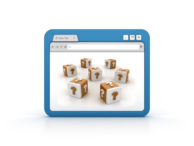 Przeglądarka Internetowa Z Blokami Znaków Zapytania Premium Zdjęcia