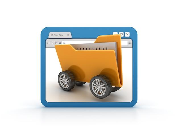 Przeglądarka Internetowa Z Folderem Na Kółkach Premium Zdjęcia