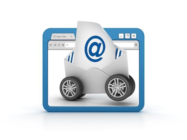 Przeglądarka Internetowa Z Kopertą E-mail Na Kółkach Premium Zdjęcia