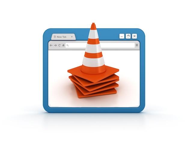 Przeglądarka Internetowa Ze Stożkami Ruchu Premium Zdjęcia