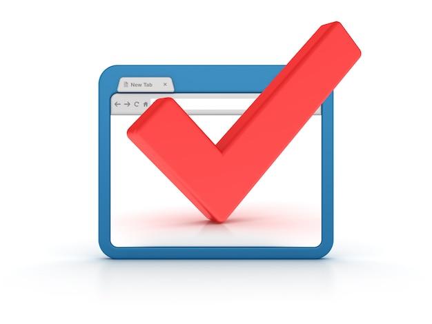Przeglądarka Internetowa Ze Znacznikiem Wyboru Premium Zdjęcia