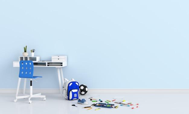 Przybory szkolne w jasnoniebieskim pokoju Premium Zdjęcia
