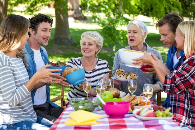 Przyjaciele na pikniku Premium Zdjęcia