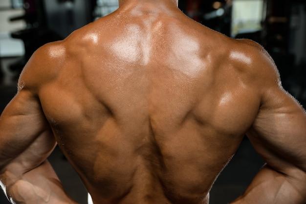 Przystojny Wzorcowy Młody Człowiek Trenuje Z Powrotem W Gym Premium Zdjęcia