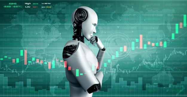 Przyszła Technologia Finansowa Kontrolowana Przez Robota Ai Z Wykorzystaniem Uczenia Maszynowego I Sztucznej Inteligencji Premium Zdjęcia