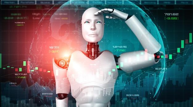 Przyszła Technologia Finansowa Kontrolowana Przez Robota Ai Z Wykorzystaniem Uczenia Maszynowego Premium Zdjęcia