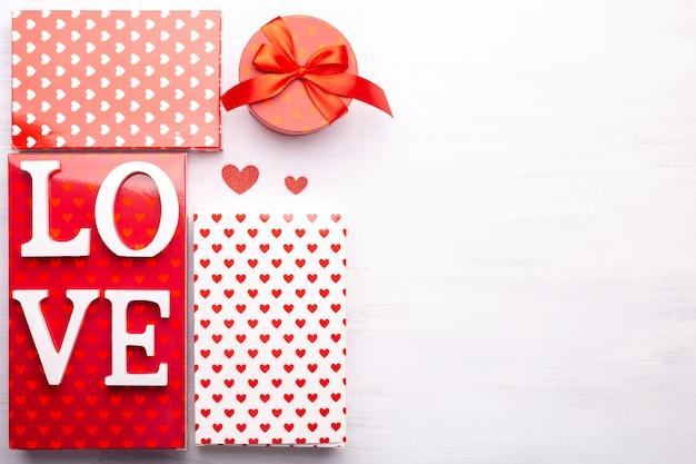 Pudełka Na Prezenty Na Walentynki Premium Zdjęcia