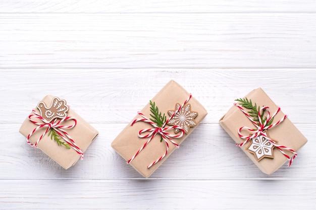 Pudełka Prezentowe Z Widokiem Z Góry Na Boże Narodzenie Premium Zdjęcia