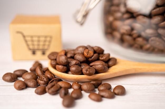 Pudełko Z Symbolem Logo Koszyka Na Ziarna Kawy. Premium Zdjęcia