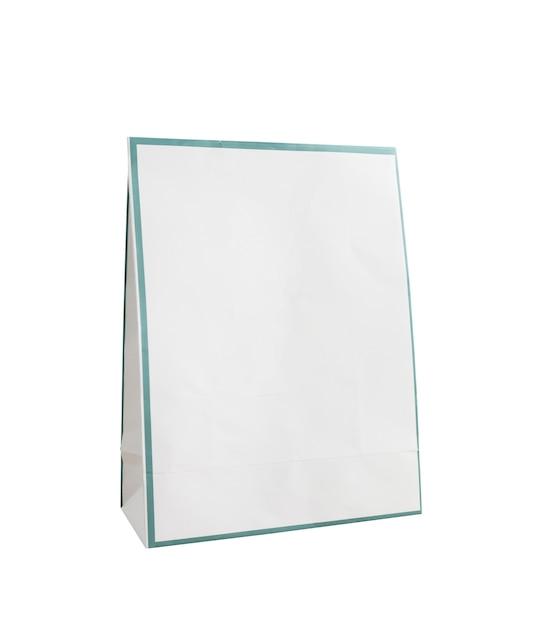 Pusta Biała Papierowa Torba Na Białym Tle Premium Zdjęcia