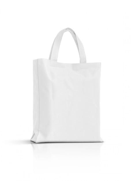 Pusta Biała Tkanina Brezentowa Torba Odizolowywająca Na Bielu Premium Zdjęcia