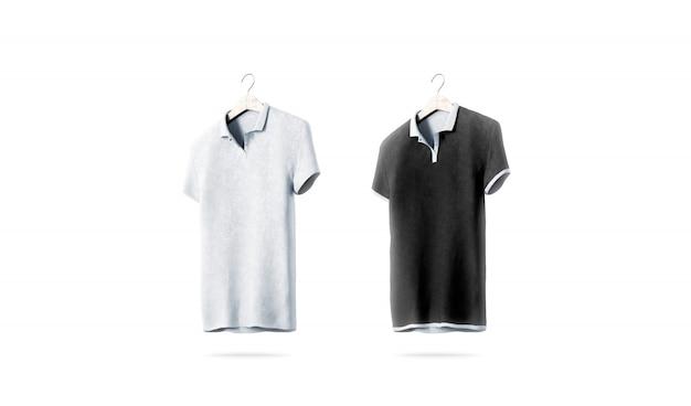 Pusta czarno-biała koszulka polo ustawiona na białym tle Premium Zdjęcia