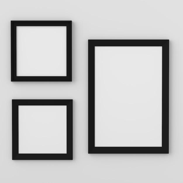 Pusta fotografii rama dla mockup, 3d odpłaca się, 3d ilustracja Premium Zdjęcia