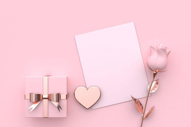 Pusta Kartka Papierowa Makieta Prezent Na Serce I Róża Różowa Premium Zdjęcia