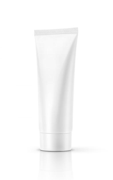 Pusta Pakuje Biała Kosmetyczna Tubka Odizolowywająca Premium Zdjęcia