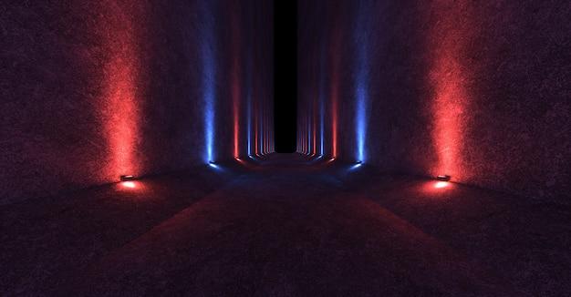Pusta przestrzeń z betonowymi ścianami i osprzętem na ścianach rozprzestrzeniających skierowane czerwone i niebieskie światło w górę iw dół Premium Zdjęcia