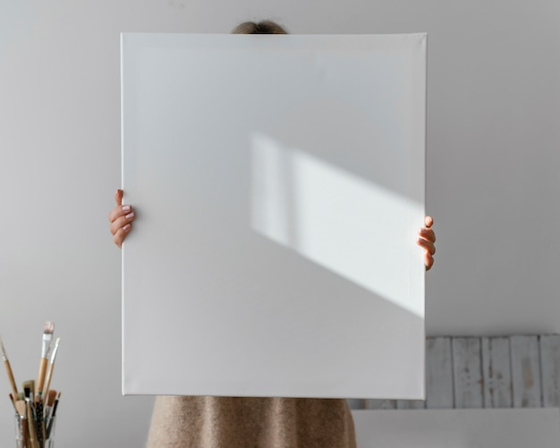 Puste Białe Płótno Do Malowania Premium Zdjęcia