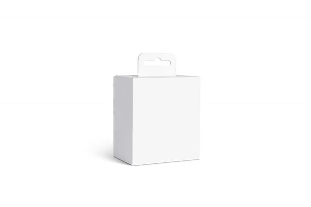 Puste Białe Pudełko Akcesoriów Z Wieszakiem, Odizolowane Premium Zdjęcia