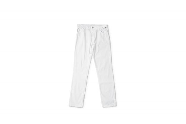 Puste białe spodnie leżące, widok z przodu Premium Zdjęcia