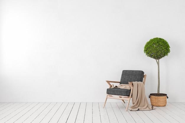 Puste Białe Wnętrze, Pusta ściana Z Fotelem, Drzewo Roślinne. Makieta Ilustracji Renderowania 3d. Premium Zdjęcia