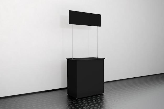 Puste Czarne Stoisko Promocyjne Stoją Przy ścianie, Widok Z Boku Premium Zdjęcia