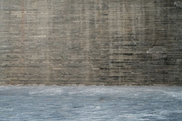 Puste Drewniane Podłogi I Szare ściany Znajdują Się Na Zewnątrz Premium Zdjęcia