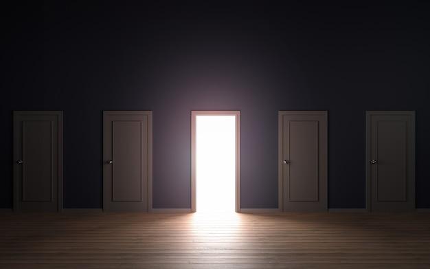Puste Drzwi Otwarte światło 3d Ilustracji Premium Zdjęcia
