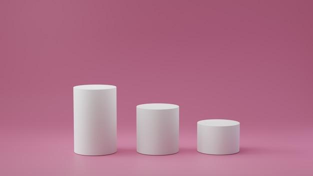 Puste kroki cylindra na pastelowym różowym tle. renderowanie 3d. Premium Zdjęcia