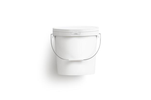 Puste Wiadro Z Białą Farbą Z Uchwytem Premium Zdjęcia