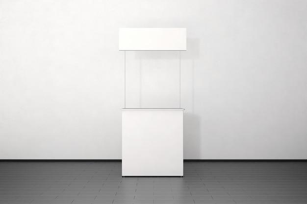 Pusty Biały Licznik Promocyjny Stoi Przy ścianie Premium Zdjęcia