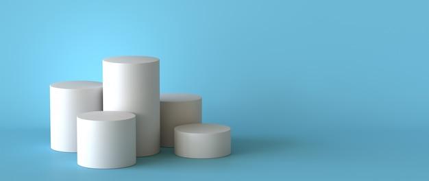 Pusty biały podium na pastelowym błękitnym tle. renderowania 3d. Premium Zdjęcia
