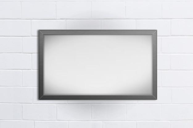 Pusty Blackboard Na Białym Ceglanym Tle Premium Zdjęcia
