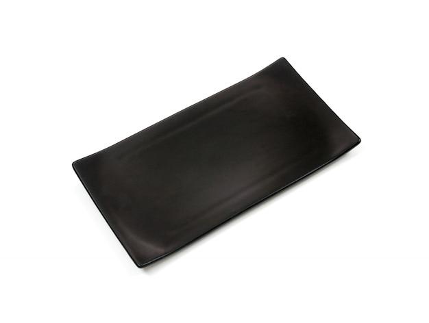 Pusty Czarny Prostokąt Ceramiczny Talerz Z Szorstką Teksturą, Na Białym Tle Premium Zdjęcia