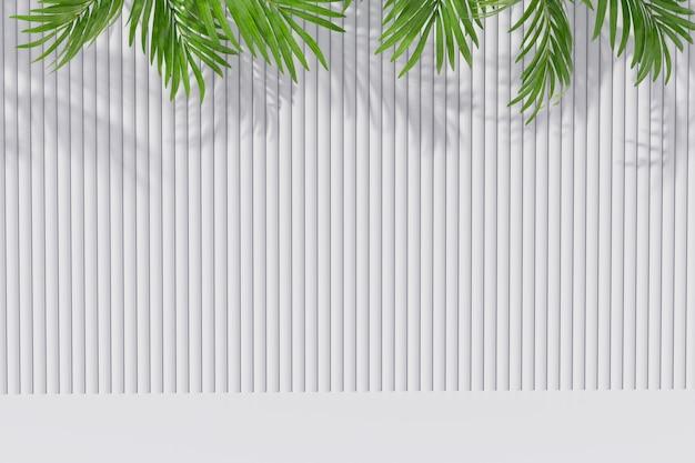 Pusty Izbowy Tło Z Palmowym Liściem I Cień Na ścianie. Renderowania 3d. Premium Zdjęcia