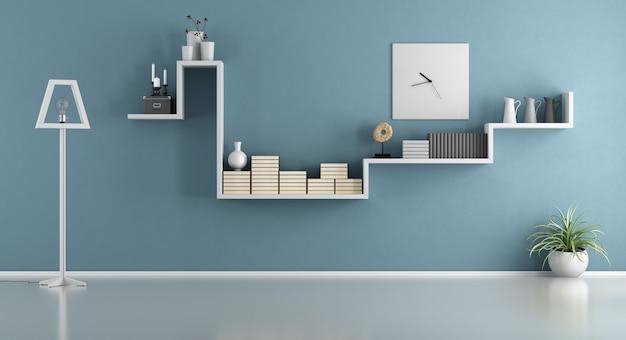 Pusty Niebieski Salon Z Półką I Lampą Podłogową. Renderowanie 3d Premium Zdjęcia