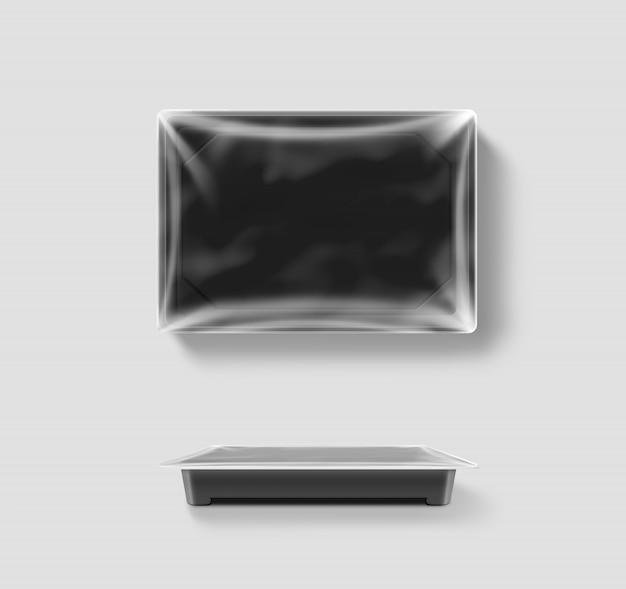 Pusty Plastikowy Jednorazowy Pojemnik Na żywność Z Folią Premium Zdjęcia