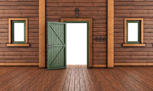 Pusty Pokój Wejściowy Drewniany Dom Z Otwartymi Drzwiami Premium Zdjęcia
