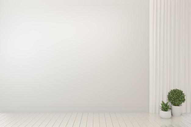 Pusty pokój wnętrze białe tło i rośliny. Premium Zdjęcia
