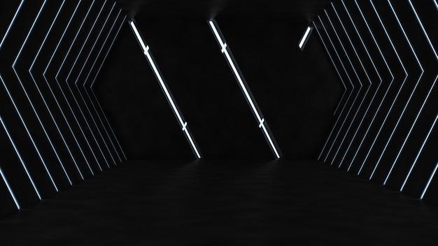 Pusty Pokój Z Betonu Z Neonów Darmowe Zdjęcia