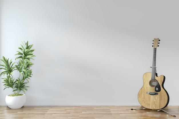Pusty pokój zen minimalistyczny design z gitarą i roślinami na podłodze drewniany pusty pokój. renderowanie 3d Premium Zdjęcia