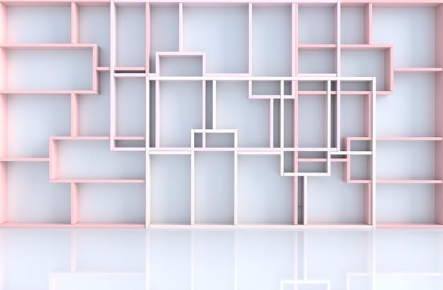 Pusty różowy pastelowy wystrój pokoju z różową ścianą półki, renderowania 3d Premium Zdjęcia