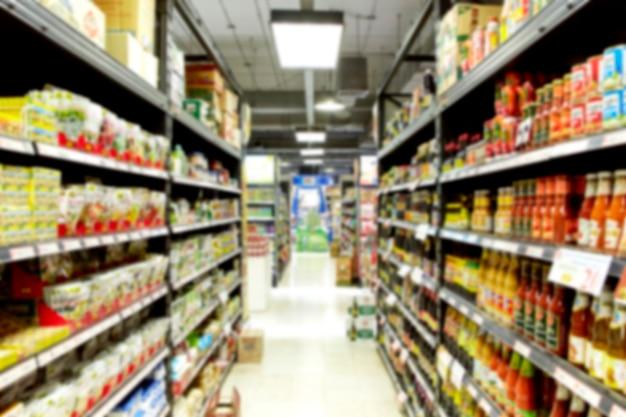 Pusty Supermarket Zamazany Premium Zdjęcia