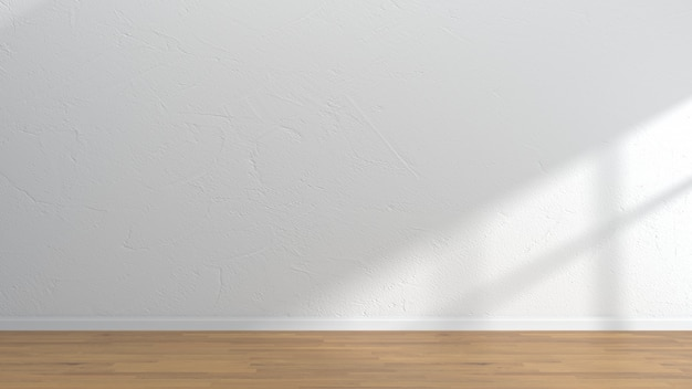 Pusty wnętrze pokoju drewniane podłogi białe ściany szablonu Premium Zdjęcia