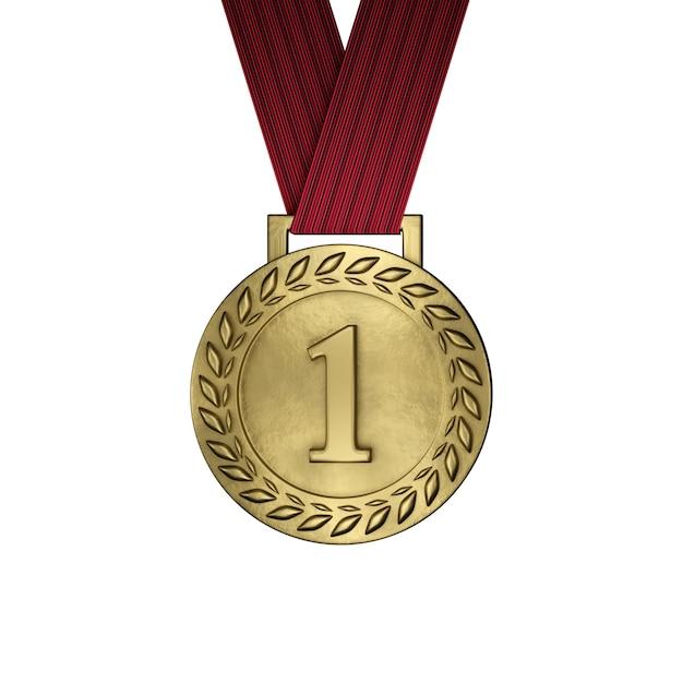 Pusty Złoty Medal Odizolowywający Na Bielu. Renderowania 3d Premium Zdjęcia