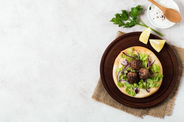 Pyszne Arabskie Fast Foody Mięso Rolki Kopia Przestrzeń Darmowe Zdjęcia